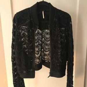 Anthropologie Black Lace Bomber Jacket